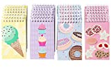Spiral Notepad – 24-Pack Top Spiral Notebooks, Bulk Mini Spiral Notepads for Journaling, Note Taking, To-do Lists, Lined Paper, 4 Cute Dessert Designs, 3 x 5 Inches