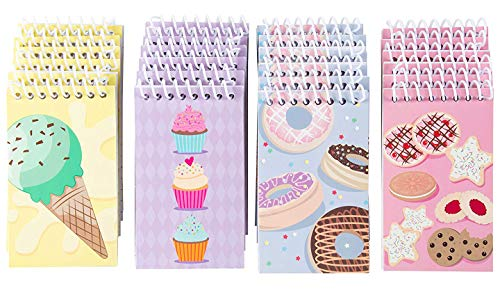 Spiral Notepad - 24-Pack Top Spiral Notebooks, Bulk Mini Spiral Notepads for Journaling, Note Taking, To-do Lists, Lined Paper, 4 Cute Dessert Designs, 3 x 5 Inches