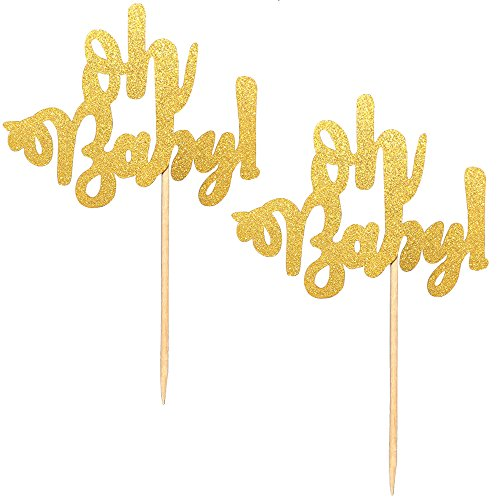 Kapoklife OTHER 11 24-Pack Glitter Cupcake Picks, Gold Oh Cake Toppers for Baby Shower Party Decorations Supplies, Muffin Cups