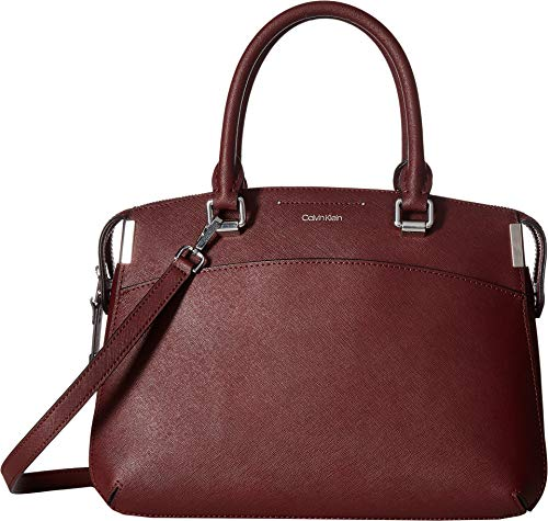 Calvin Klein Raelynn Saffiano Leather Top Zip Satchel, Merlot ()