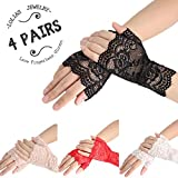LOLIAS 4 Pairs Women Girls Wrist Lace Fingerless Gloves Half Finger Bridal Wedding Party Dress Sexy