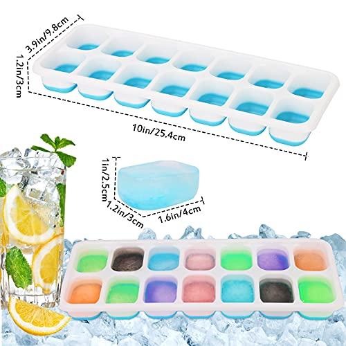 Eiswürfelform Silikon 4er Pack, 14-Fach Eiswürfelformen Mit Deckel, Stapelbar Einfach Herauszunehmen Eiswürfel Form Eiswürfelschalen Ice Cube Tray, LFGB Zertifiziert und BPA Frei (2* Blau+2* Grün)