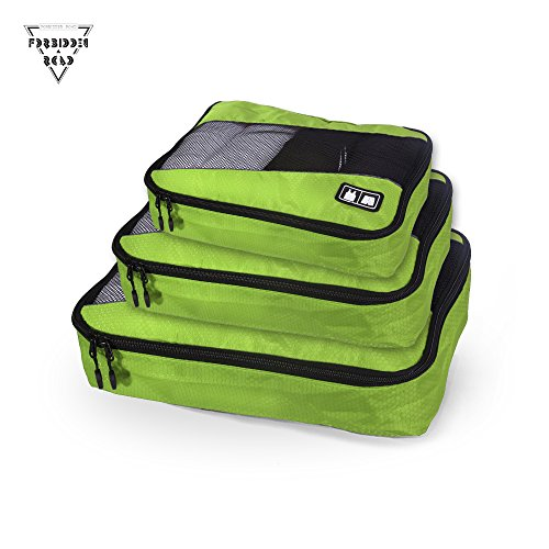 Forbidden Road Packing Cubes Travel Packing Cubes Organizers Folders Accessories Compression Cubes Pouches Portable for Cloth Underwear Bra Socks - 3 Pieces of Different Sizes (Green, 3 Pieces)