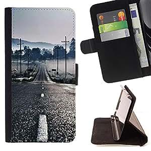 Devil Case- Estilo PU billetera de cuero del soporte del tir¨®n [solapa de cierre] Cubierta FOR Apple Iphone 5C- Long Road