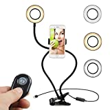 KEKH Selfie Ring Light with Stand and Phone Holder for Live Stream and Makeup [3-Light Mode] [10-Level Brightness] Lazy Bracket with Flexible Long Arms Clip Mounts for iPhone & Free Bluetooth Remote