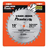 Black & Decker 77-740 Piranha 10-Inch 32 Tooth Thin Kerf Saw Blade with 5/8-Inch Arbor