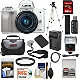 Canon EOS M50 Wi-Fi Digital ILC Camera & EF-M 15-45mm is STM Lens (White) 64GB Card + Battery + Charger + Tripod + Flash + Kit