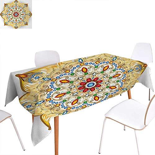 Warm Family Mandala Rectangular Tablecloth Brooch Inspired Design Mandala Geometric Vintage Design Lively Figure Digital Print Oblong Wrinkle Resistant Tablecloth 54