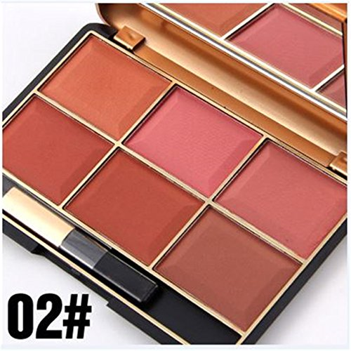 Makeup Blush Blusher Powder (FantasyDay Pro 6 Colors Large Compact Powder Blush / Cheek Contouring Blusher Makeup Palette Contouring Kit #2)