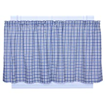 Ellis Curtain Bristol Collection Two-Tone Plaid 68 by 24-Inch Tailored Tier Curtains, Blue
