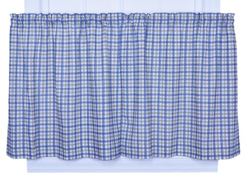 Ellis Curtain Bristol Collection Two-Tone Plaid 68 by 36-Inch Tailored Tier Curtains, Blue ()