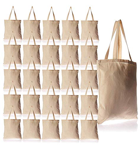 24 Pack Bulk Cotton Canvas Tote Bags Reusable Grocery Shopping Blank Tote Bags in Bulk Blank Art Craft Supply Book Print Bulk Lot School Church Party Bags Wholesale Tote Bags ()