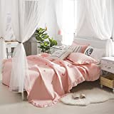 KFZ Lace Bedspread Bedding with Pillowcases Cotton Embroidered BR Queen 78''x91'' Animal Flower Bear Footprint Daisy Lavender Smile Heart Snowflake Design 3pcs/set (Flamingo, Pink, Queen,78''x91'')