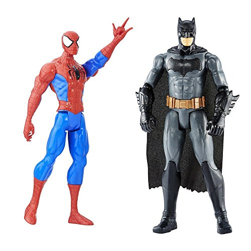 Female Action Hero Halloween Costumes (2 LOT Bundle Marvel Series Batman and Spider-Man Titan Hero Figure 12