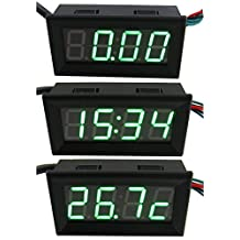 """Yeeco 3 in 1 3-Wire DC0-33V 0.56"""" DC Digital Voltmeter Voltage Panel Meter Tester Gauge Temperature Meter 24-hour Electronic Clock Car Motor Green LED Display with Waterproof Stainless Probe"""