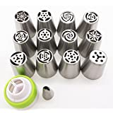 Russian Piping Tips 14PCS/SET, KOOTIPS 13pcs Stainless Steel Large Size Icing Tips Syringe Set DIY a Coupler Nozzle