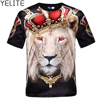 Men Casual 3D Print Tiger Short Sleeve T-Shirt O Neck Tops Fashion Summer Tee
