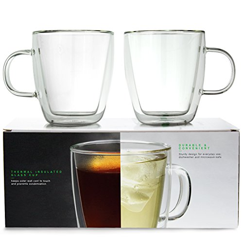 LINKYO Glass Coffee Cup - Double Wall Insulated Mugs, 2-Pack (375 ml)