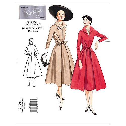 1950s Sewing Patterns | Dresses, Skirts, Tops, Mens 1952 Vogue Patterns V2401 Misses Dress Size 12-14-16  AT vintagedancer.com