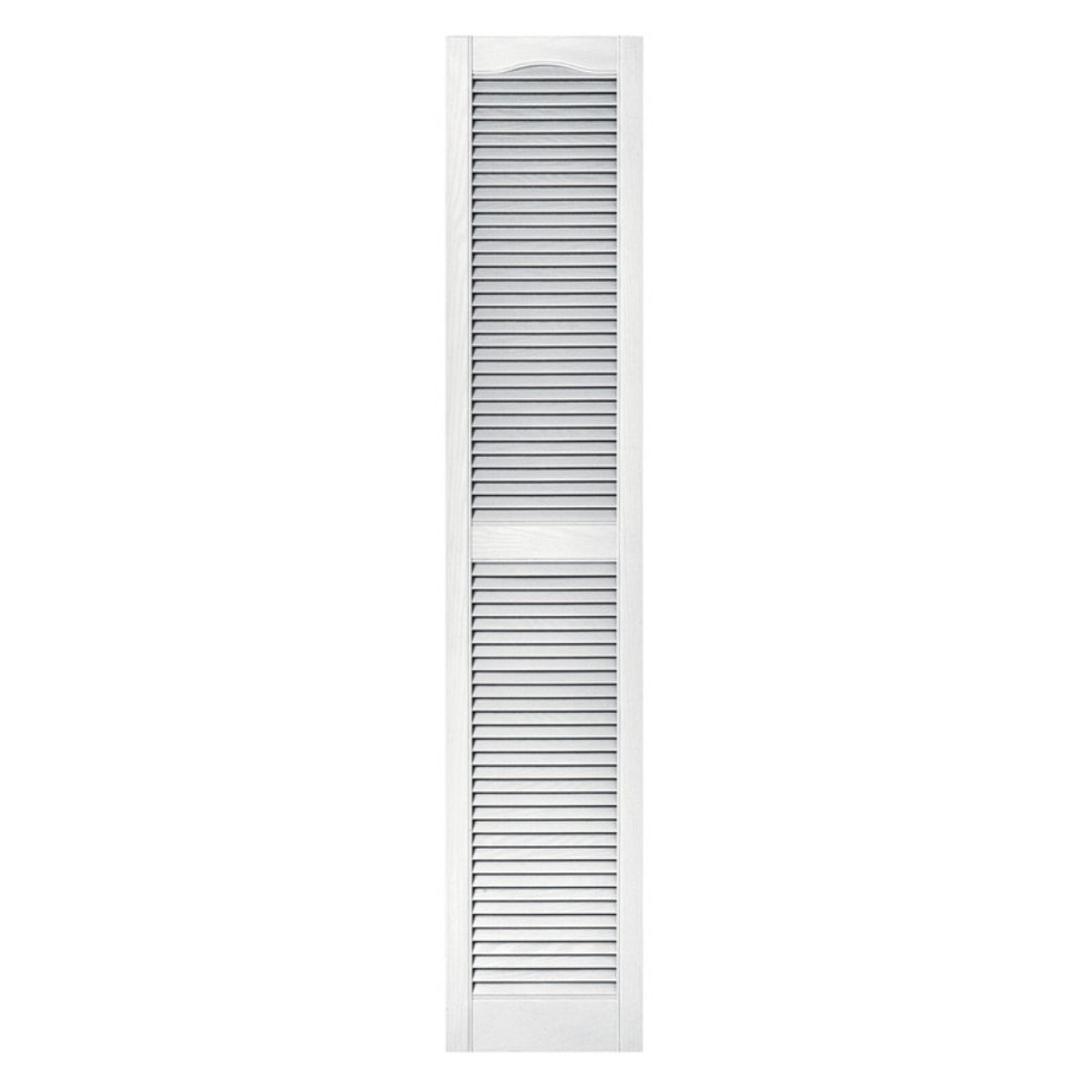 Builders Edge 12 in. x 55 in. Louvered Vinyl Exterior Shutters Pair in #001 White