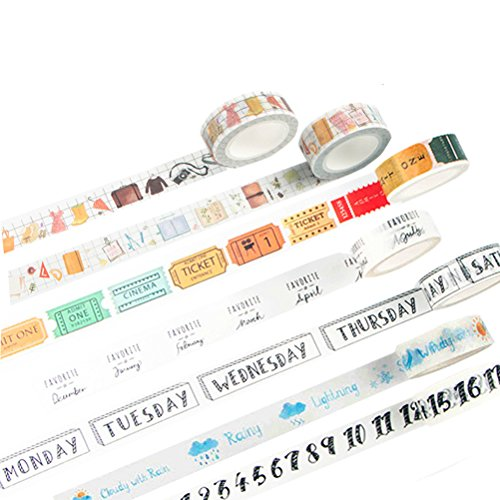 Washi Tape Set of 7 Rolls - Travel bullet Journal Planner Daily Life Diary Number Weather Week Date Notebooks Decorative DIY Japanese Masking Adhesive Sticky Paper Washi Tape Set (width: 15mm) by lovielf