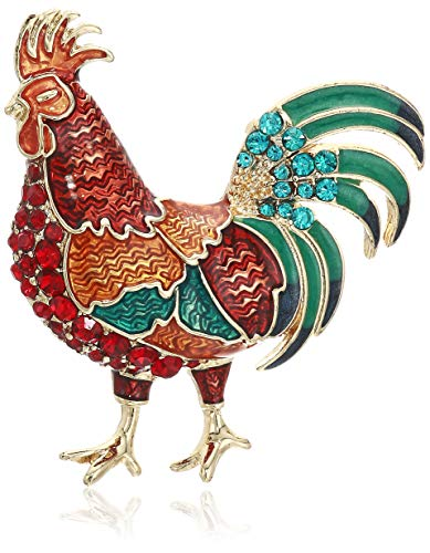 Napier Women's Classics Red and Multi Rooster Brooches and - Pin Napier Brooch