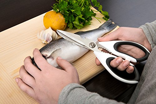 JB Chef Kitchen Scissors | Kitchen Shears And Heavy Duty Kitchen Scissors | Poultry Scissors With Updated Design And Dishwasher Safe 4 ✭ A MUST KITCHEN UTENSIL FOR ALL: If you are looking for extremely sharp and sturdy culinary scissors which will make cutting with ease, then we got you covered. We proudly present you the best designed finest kitchen shears on the market that will help you cut through straight! Extraordinary cutting performance in kitchen tasks such as cutting chicken, herbs, bones, vegetables, meat and much more. ✭ ERGONOMIC DESIGN, EXCLUSIVE QUALITY: Comfortable design never seen before and ultra sharp blades make it feel light and effortless while cutting even through tough materials. Siccors made from top quality stainless steel that is rust and corrosion resistance. Rubber grips easy to hold are designed to provide firm and non-slippery contact even when your hands are wet jbc. Dishwasher safe sizzors off course. ✭ LIFETIME GUARANTEE KITCHEN SHEARS: Since your satisfaction is our top priority, this product is backed by our unconditional 100% lifetime money back guarantee and replacement policy, just in case you don't simply love it! Enjoy this absolutely RISK-FREE purchase today.