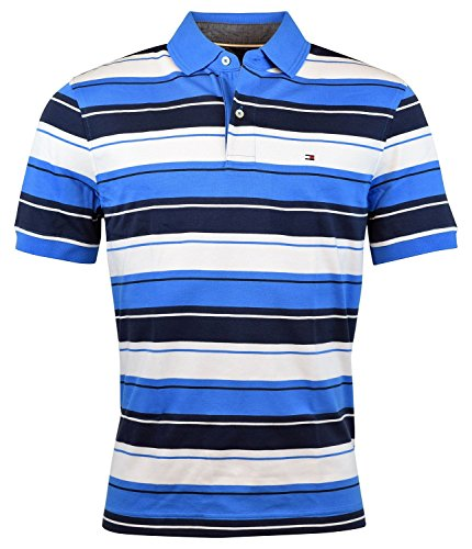 Tommy Hilfiger Men's Striped Interlock Polo (Small, French - Mens Tommy Sale Hilfiger