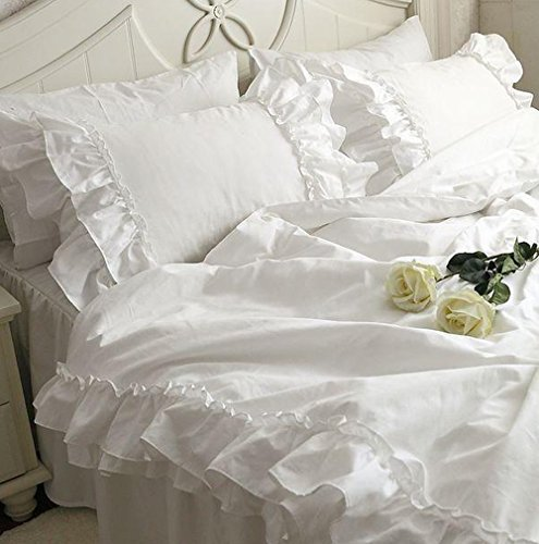 Tidetex Nordic Rural Style Bedding 4Pc Elegant White Sateen Bedding Fashion Lace Flouncing Design Duvet Cover Romantic Princess Bedding Sets Cute Girl Home Textiles  King  White