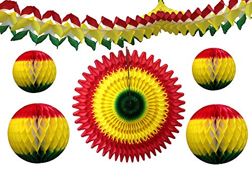 6-Piece Red Yellow Green Rasta Party Decorations -