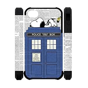 DiyCaseStore Snoopy Lie the Tardis Police Box iPhone 4 4S Best Durable Cover Case Christmas Gift Idea Kimberly Kurzendoerfer