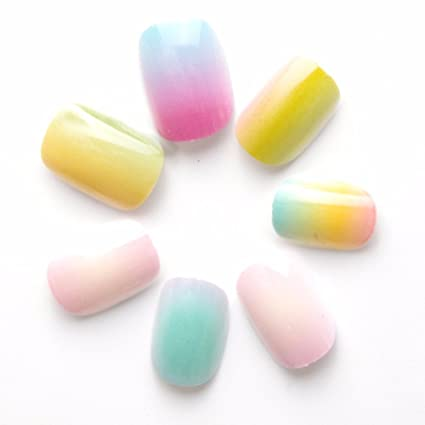 Amazon.com: 24 Pcs Gradient Color Rainbow Children False Nails Pre-glue Press on Fake Nails Tips for Kits Little Girls: Beauty