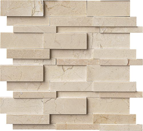 M S International Hedron 3D Interlocking 12 In. X 12 In. X 10mm Marble Mesh-Mounted Mosaic Wall Tile, (10 sq. ft., 10 pieces per case) by MS International