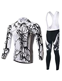 Jersey Long-Sleeved Suit, Bicycle wear, Moisture Wicking and Quick-Drying Pants,Mens Cycling Clothing Set