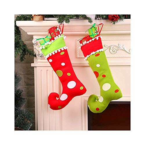 ZBW Christmas Stocking Pendant Cute Elf Boots Shoes Socks Candy Gift Bags Hanging Ornaments for Santa Festival Party Tree Decoration (2 -