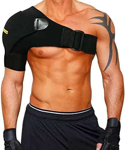Shoulder Stability Brace with Pressure Pad by Babo Care – Light and Breathable Neoprene Shoulder Support for Rotator Cuff, Dislocated AC Joint, Labrum Tear, Shoulder Pain, Shoulder Compression Sleeve