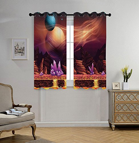 Stylish Window Curtains,Fantasy House Decor,Fantasy Spot with Golden River in Mars with Nebula and Other Planets Solar Zodiac Theme,Multi,2 Panel Set Window Drapes,for Living Room Bedroom Kitchen Cafe by iPrint