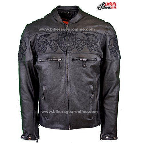 Dream Men's Motorcycle Riding Blk Reflective Skull Leather Jacket Big Sizes Upto 10xl (6XL Regular) by Dream (Image #1)'