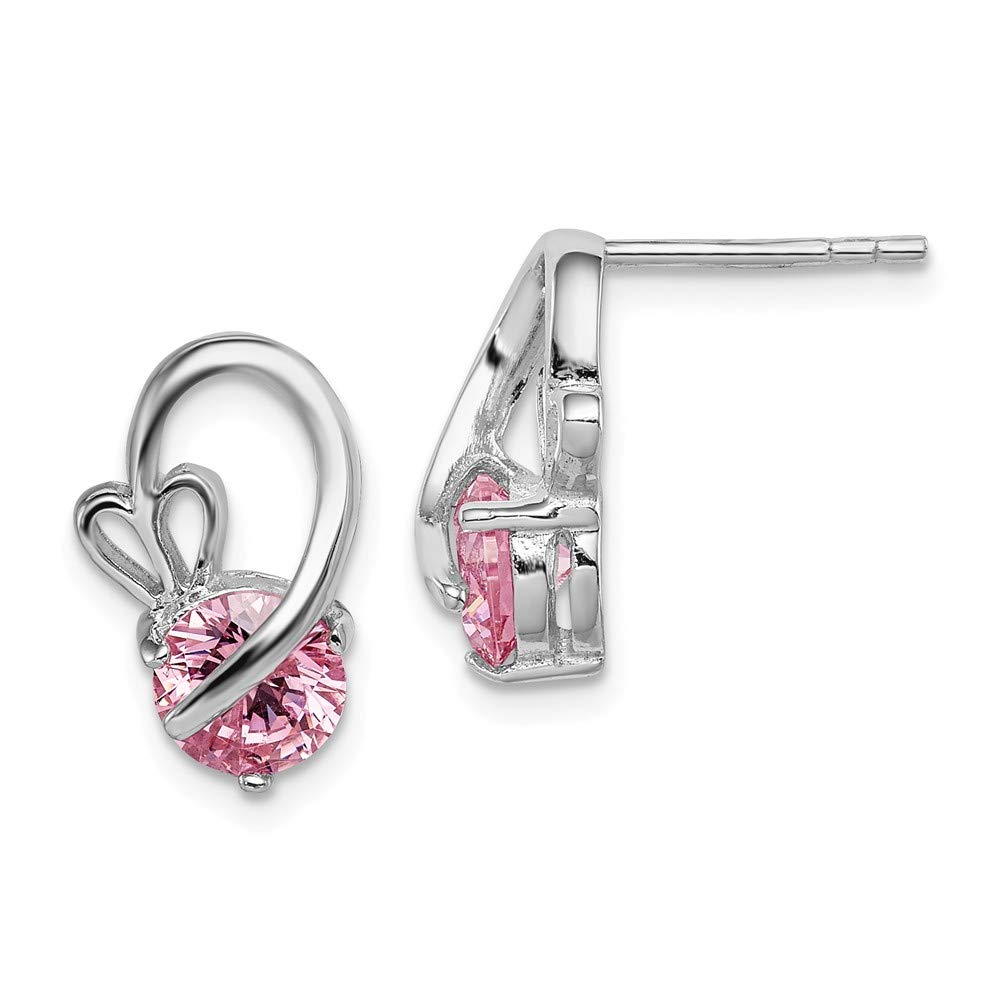 Diamond2Deal 925 Sterling Silver Rhodium Plated Pink Cubic Zirconia Heart Post Earrings