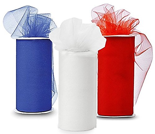(Patriotic Tulle - Three Spools of Tulle Fabric, 25-Yard each, Royal-Blue, Red and)