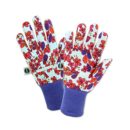 (West Chester Miracle-Gro MG64000 Heavy Duty Canvas Chore Work Gloves: White/Floral Print, Women's One Size Fits Most, 1)