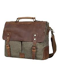 S-ZONE Fashion Canvas Genuine Leather Trim Travel Briefcase Laptop Bag (Army Green)