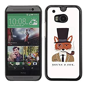 PC/Aluminum Funda Carcasa protectora para HTC One M8 A Fox Clever Gentleman Drawing / JUSTGO PHONE PROTECTOR