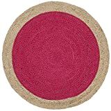 Safavieh Natural Fiber Collection NF801C Hand-Woven Fuchsia Pink and Natural Jute Round Area Rug (3' in Diameter)