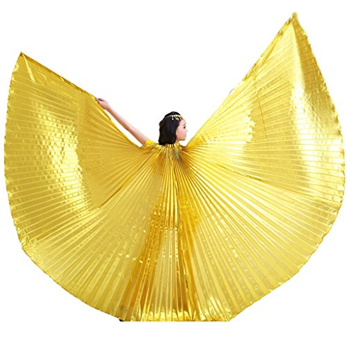 Stick Dance Costume (Pilot-trade Women's Professional Belly Dance Costume Angle Isis Wings No Stick Gold)