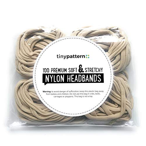 tinypattern - Nylon Headbands for Baby Girls. Bulk (100pc) Premium Nude Headbands. Super Soft and Stretchy for Craft DIY Hair Bows