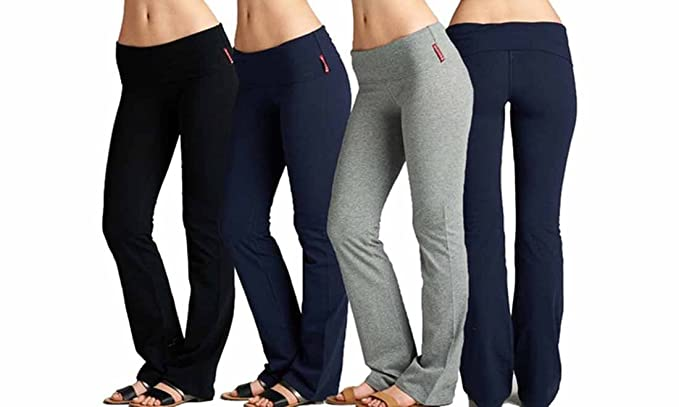 2f45cee0eb4254 EAG 3 Pack Fold Over Waistband Stretchy Cotton Active wear Yoga Pants  (Small, Black