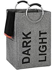 DOKEHOM 90L X-Large Linen Double Laundry Hamper, Collapsible Washing Basket, Foldable Clothes Bag - Durable and Easy to Clean (Dark Grey)