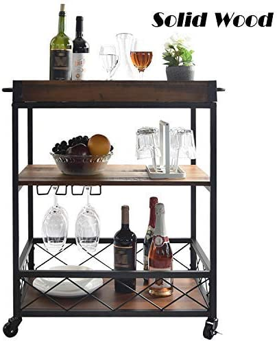 Solid Wood Kitchen cart with 3 – Tier Shelves, Industrial Vintage Style Wood Metal Serving Trolley, Rolling wood serving bar cart with Removable Top Box Container and Lockable Caster, Brown