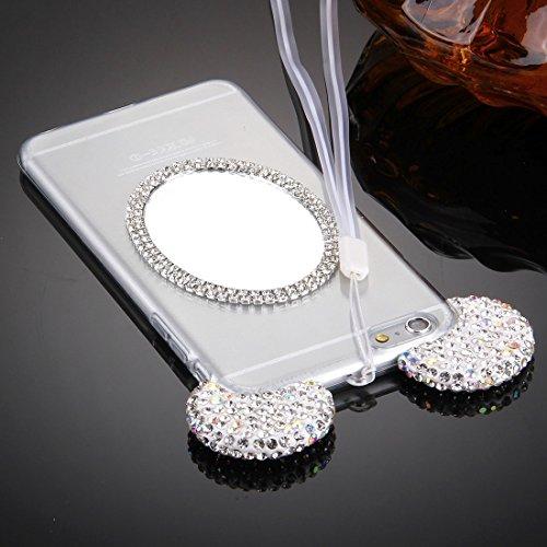 Phone Taschen & Schalen Für iPhone 6 Plus & 6s Plus Maus Ohr Diamant Muster Transparent TPU Schutzhülle mit Lanyard & Spiegel ( Color : Silver )